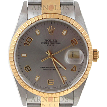 Pre-Owned 1999 Two Tone Rolex Date Watch With Steel Arabic Dial With Engine Turn Bezel And Oyster Band Model# 15223   PRICE - $4000.00