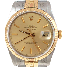 Pre-Owned 1987 Rolex Datejust Watch Two Tone With Champagne Stick Dial 18kt Fluted Bezel With Jubilee Band Model 16233   PRICE - $3500.00