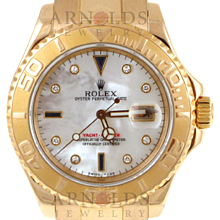 Pre-Owned 1997 Rolex 18kt Yellow Gold Yachtmaster Watch With Mother Of Pearl Diamond And Sapphire Dial Model# 16628   PRICE - $19,000.00