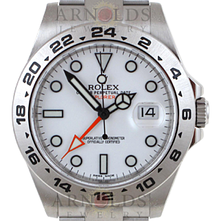 Pre-Owned 2012 Rolex Stainless Steel 42mm Explorer II Watch With White Index With Orange Hand Dial 24 Hour Bezel With Oyster Band Model 216570   PRICE - $6600.00