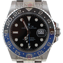 Pre-Owned 2014 Stainless Steel Rolex GMT Master II Watch With Black Index Dial And Blue and Black Ceramic Bezel (Batman)With New Style Oyster Band Model# 116710BLNR   PRICE - $8450.00