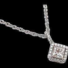 1.26 ctw Princess Cut Diamond Halo Necklace 14k White Gold