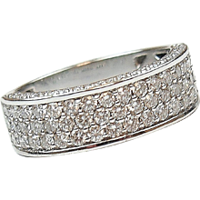 1.08 ctw Diamond Pave Band Ring 14k White Gold