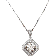 1.24 ctw Diamond Halo Necklace 14k White Gold