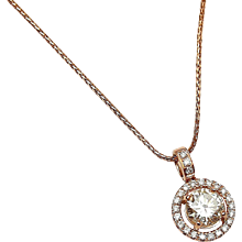 1.39 ctw Diamond Halo Necklace 14k Rose Gold