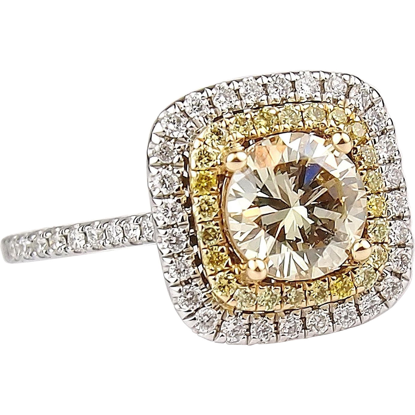 ctw gia diamond engagement double halo ring 14k gold. Black Bedroom Furniture Sets. Home Design Ideas