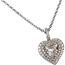 1.78 ctw GIA Diamond Heart Double Halo Necklace 14k Gold