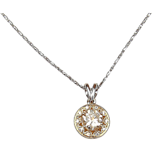 GIA 1.38 ctw Diamond Two-Tone Necklace 14k Gold