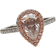 1.55 ctw Diamond Pear Cut Halo Engagement Ring 14k Gold