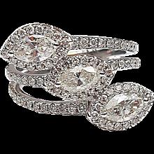 1.80 ctw Diamond Custom Made Marquise Bypass Ring