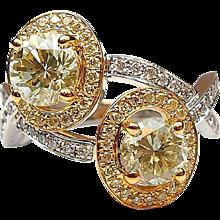 GIA 2.13 ctw Yellow and White Diamond Two-Tone Halo Ring 14k Gold