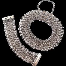 Designer David Yurman Heavy Sterling Silver 18k Wide Link Necklace and Bracelet Set