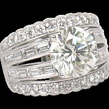 7.07 ctw GIA Diamond Engagement Ring 18k White Gold