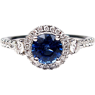 GIA 14k White Gold 1.40 ctw Natural Sapphire and Diamond Engagement Ring
