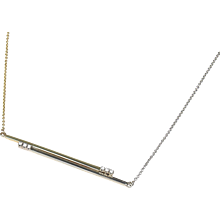 .15 ctw Diamond Custom Two-Tone Bar Necklace 14k Gold