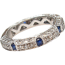 .36 ctw Sapphire and .94 ctw Diamond Band Ring