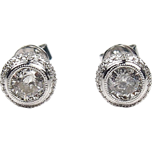 1.20 ctw Diamond Fancy Halo Stud Earrings 14k White Gold