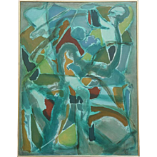 Danish Abstract Composition by Eva Beyer, 1974