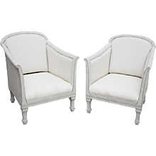 Pair of Swedish Antique Painted Bergere, 19th Century