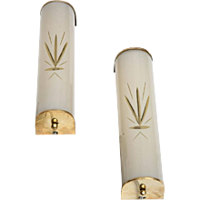 Pair of Brass and Frosted Etched Glass sconces Swedish 1960s