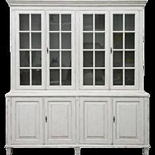 Antique Swedish Gustavian Painted Four-Door Glass Cabinet, 19th Century