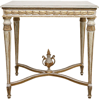 Antique Swedish Paint and Giltwood Table with Beautiful Carving, 19th Century