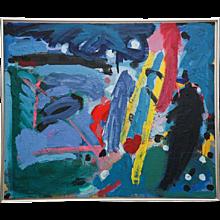 Danish Abstract Composition Acrylic on Canvas by Bjorn Erickson, 1988