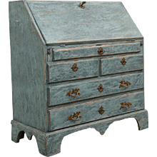 Antique Swedish Blue Slant Front Secretary Desk Early, 19th Century