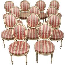 Set of 14 Antique Danish Louis XVI Style Dining Chairs