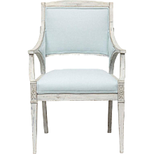 Antique Swedish Painted Gustavian Armchair, Early 19th Century