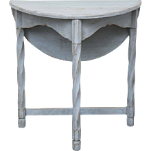 Antique Swedish Painted Small Round Drop Leaf Table, Mid-19th Century