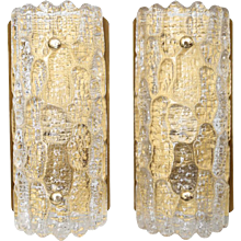Pair of Vintage 1960s Orrefors Crystal Wall Sconces by Carl Fagerlund, 1960s