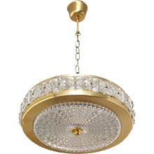Carl Fagerlund Brass and Crystal Pendant for Orrefors Mid 20th Century