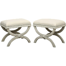 Pair Antique Swedish Gustavian painted X-base stools, Early 19th Century