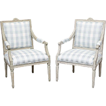 Pair of Antique Swedish Gustavian Painted Armchairs, Mid-19th Century