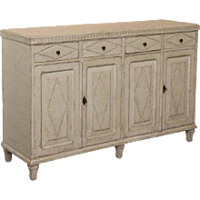 Antique Swedish Gustavian Painted Sideboard with Diamond Shapes, 19th Century