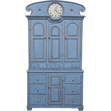 Antique Swedish Tall Blue Painted Clock Cabinet Early 19th Century