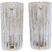 Pair Unique Large Orrefors Crystal wall Sconces Carl Fagerlund Sweden, 1960s