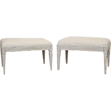 Pair Antique Swedish Gustavian Style painted benches  Late 19th Century