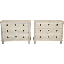 Pair Antique Swedish Gustavian Style Painted Chests   Late 19th Century