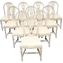 Set of Ten Antique Swedish, Gustavian Style Arched Back Chairs Late 19th Century