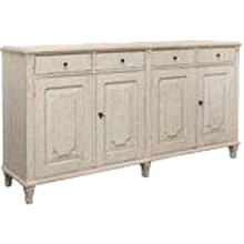 Antique Swedish Gustavian Style Painted Four-Door Sideboard, Late 19th Century