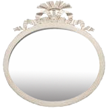 Antique Swedish Gustavian Style White Painted Oval Mirror, Mid-19th Century