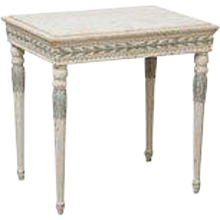 Antique Swedish Gustavian Carved Painted Console with Marble Top