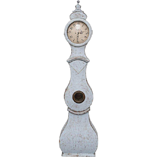 Late 18th Century Swedish Pale Blue Painted Mora Clock