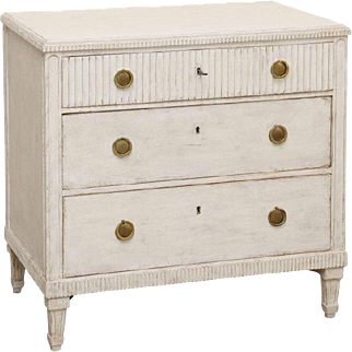 Antique Swedish Gustavian Style White Painted Chest, Mid-19th Century