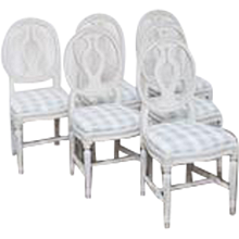 Set of 6 Antique Swedish Gustavian Style painted dining chairs Late 19th Century