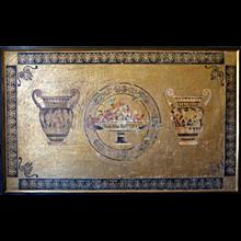 Etruscan Style Fresco Panel on Gold Leaf