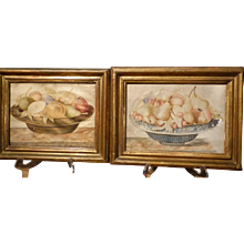 Pair of Still life Paintings on Vellum