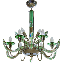 Italian Chandelier in Murano Glass transparent and green, Camer Glass 1960s